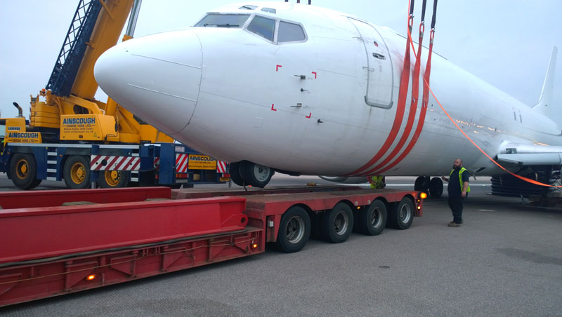 And position the aircraft onto a low-loader